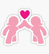 Two chubby ladies with a love heart Sticker