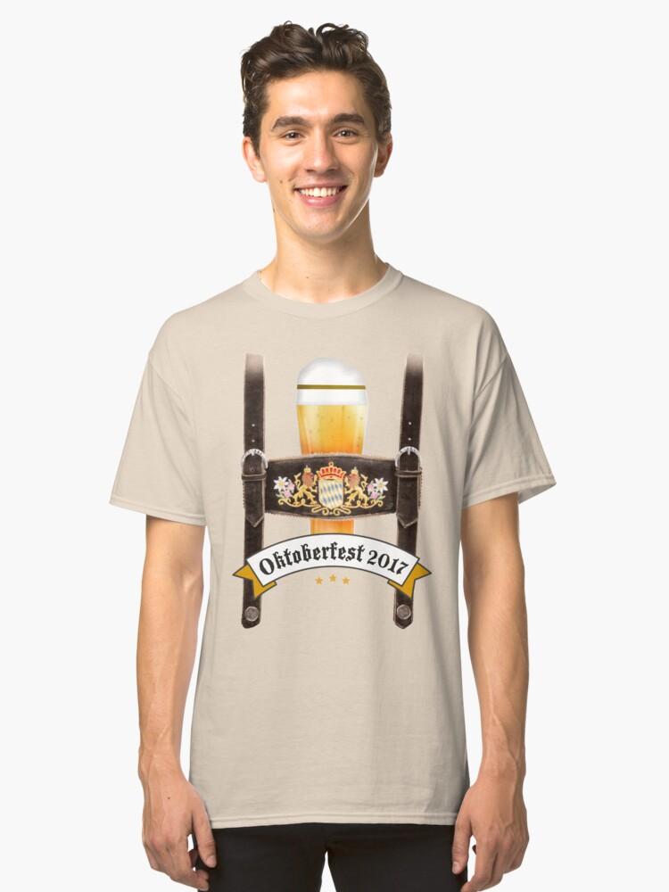 lederhosen humor beer craft bavaria flag blue white costume dirndl beer anstich wiesn bavaria munich beer garden drink breast decollete sexy humor joke costume disguise Classic T-Shirt Front