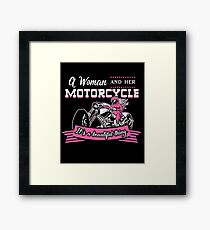 A Woman And Her Motorcycle  Framed Print
