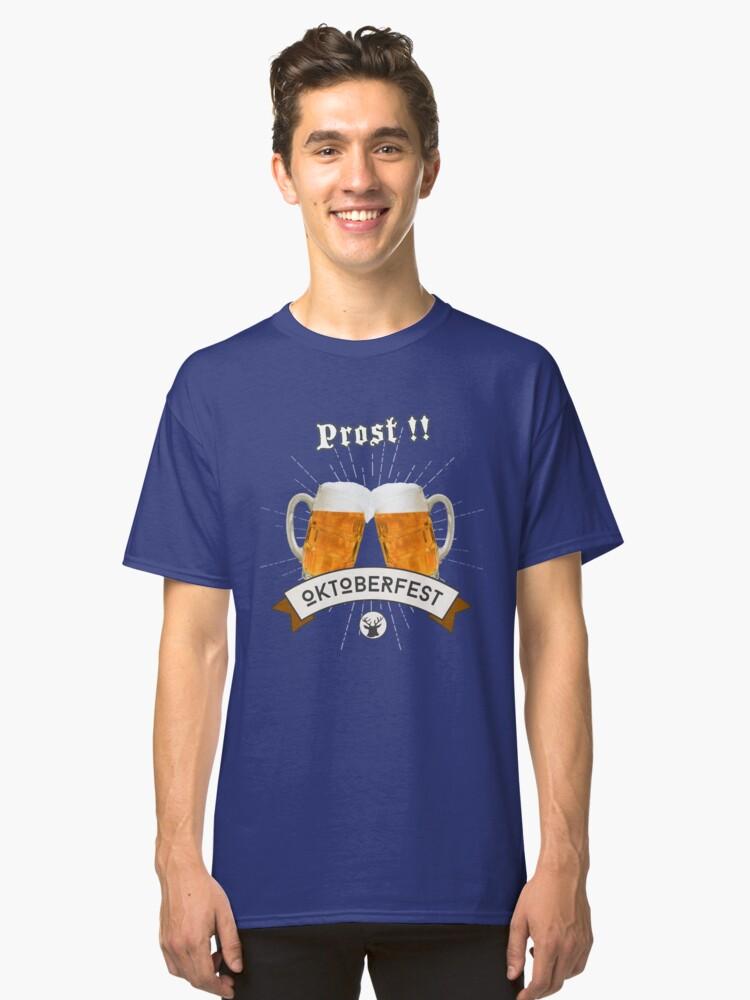 oktoberfest cheers bavarian flag blue white costume dirndl beer anstich wiesn bavaria munich beer garden drink chest decollete sexy humor joke costume disguise Classic T-Shirt Front