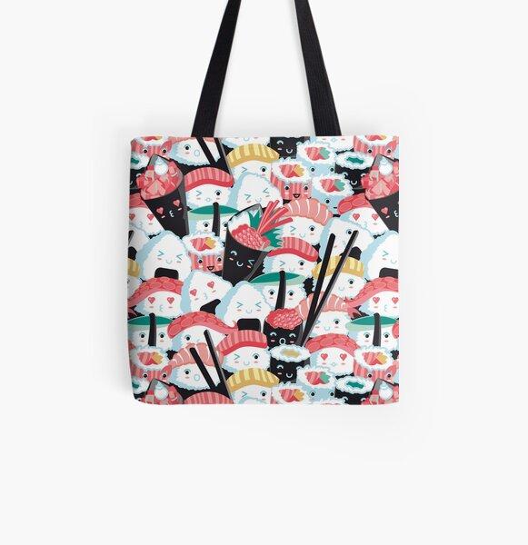 Kawaii Sushi Crowd All Over Print Tote Bag