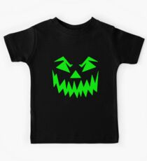 Scary Face Jack O'Lantern Green Halloween Party T-Shirt Kids Clothes
