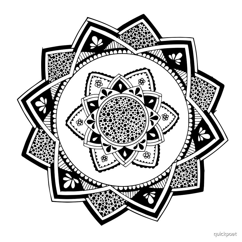 Sirasana black mandala on white by quickpoet