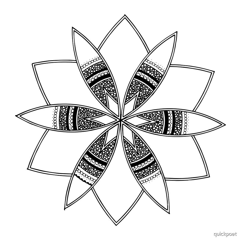 Simple black mandala on white by quickpoet