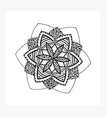 Grounded black mandala on white Photographic Print