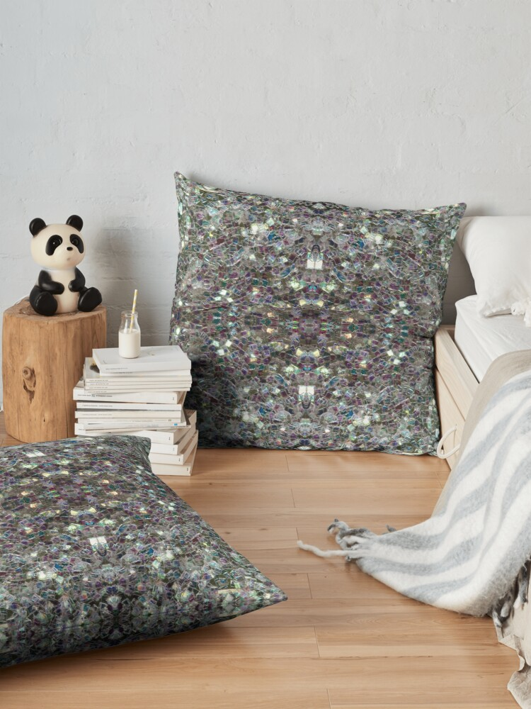 Alternate view of Sparkly colourful silver mosaic mandala Floor Pillow