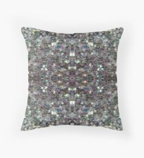 Sparkly colourful silver mosaic mandala Throw Pillow