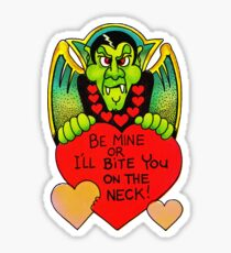 """""""Bite Me"""" in White - Vampire, Dracula, Vintage, Retro, Valentine's, Day, Card, Love, Hearts, Red, Scary, Spooky, Halloween, Holiday, Bats, Funny, Humor, Silly, Cute Sticker"""