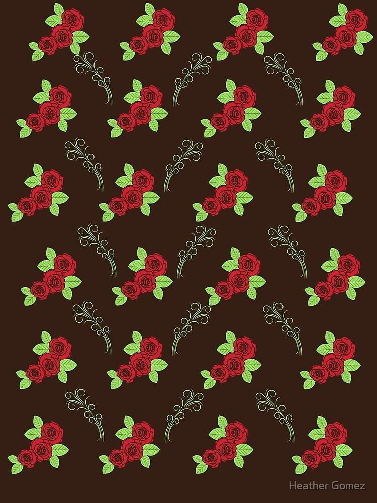Rose Red & Green floral Design by Heather Gomez