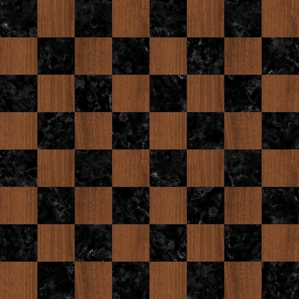 SQUARE1 BLACK MARBLE & BROWN WOOD by johnhunternance
