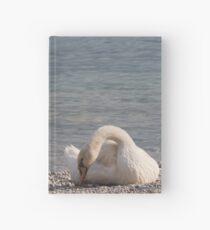 swan at lake Hardcover Journal