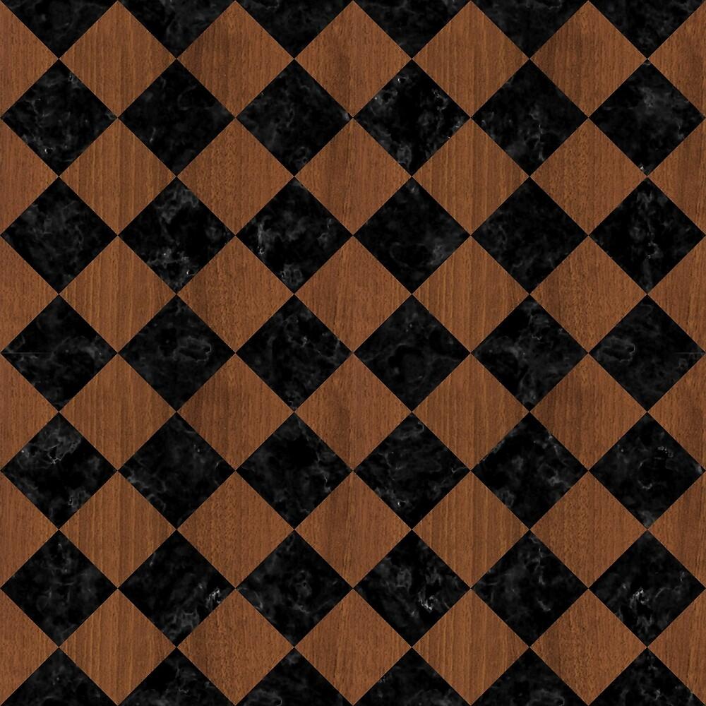 SQUARE2 BLACK MARBLE & BROWN WOOD by johnhunternance
