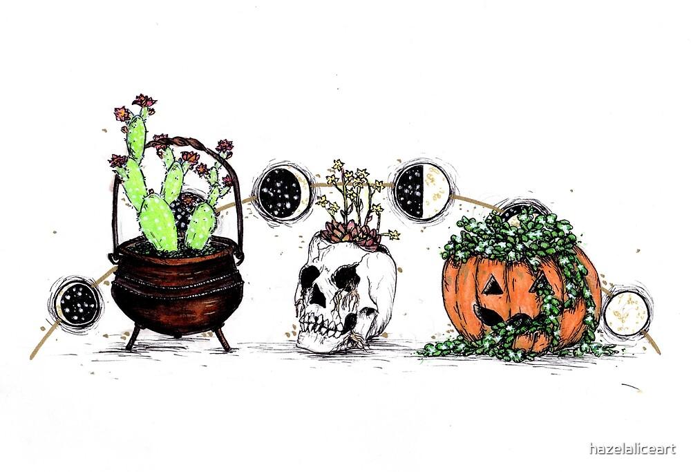 Halloween Succulents by hazelaliceart