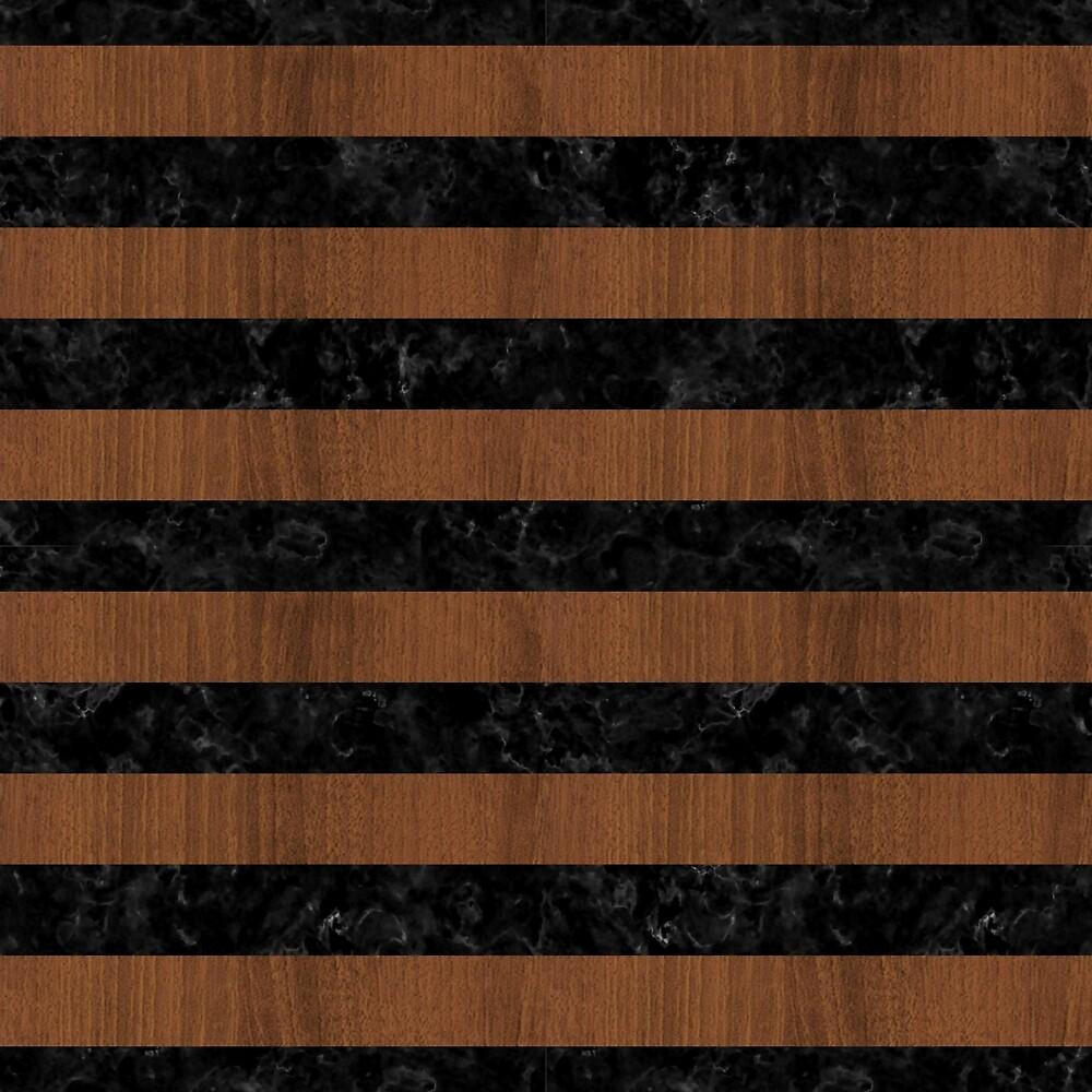 STRIPES2 BLACK MARBLE & BROWN WOOD by johnhunternance
