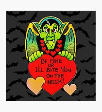 """Bite Me"" in Flight - Vampire, Dracula, Vintage, Retro, Valentine's, Day, Card, Love, Hearts, Red, Scary, Spooky, Halloween, Holiday, Bats, Funny, Humor, Silly, Cute Photographic Print"