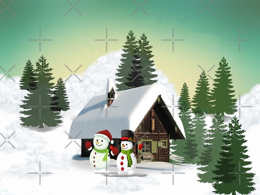 Christmas Snowman Scene by FrankieCat