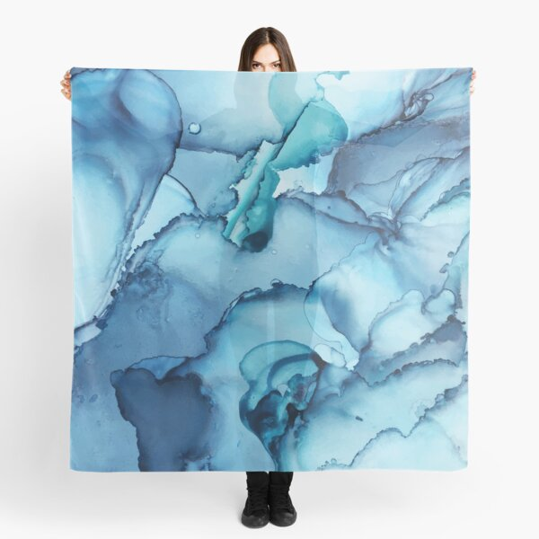 The Blue Abyss - Alcohol Ink Painting Scarf