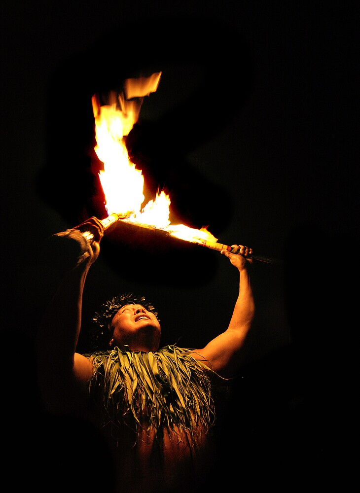 Hawaiian Luau Fire Dancer by Philip James Filia
