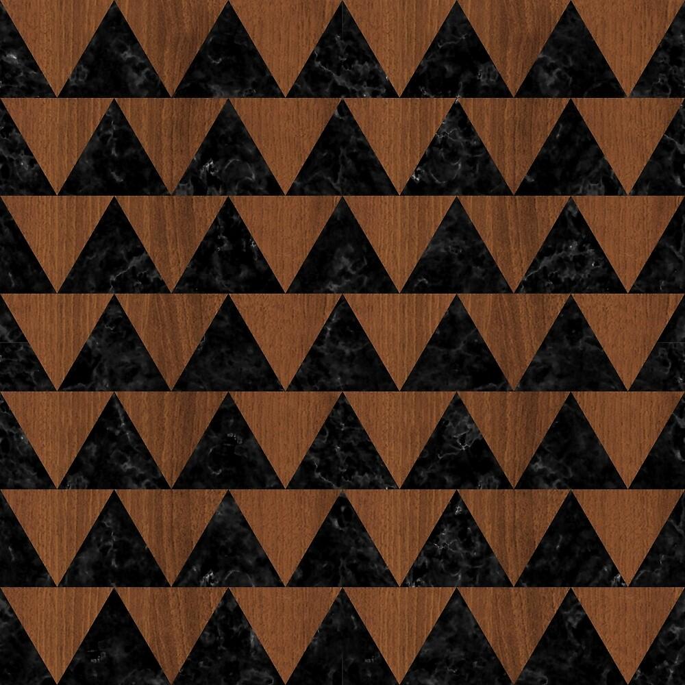 TRIANGLE2 BLACK MARBLE & BROWN WOOD by johnhunternance