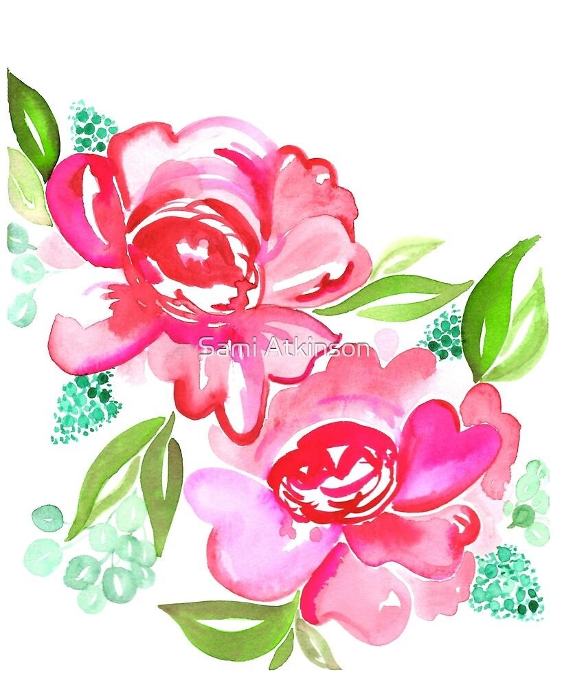 Pink Watercolor Flowers by artstudioco