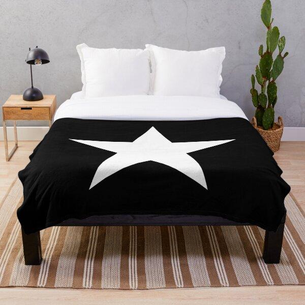 WHITE STAR. On BLACK, Bright Star, STELLAR, ACHIEVEMENT. Throw Blanket