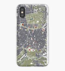 Madrid city map engraving iPhone Case/Skin