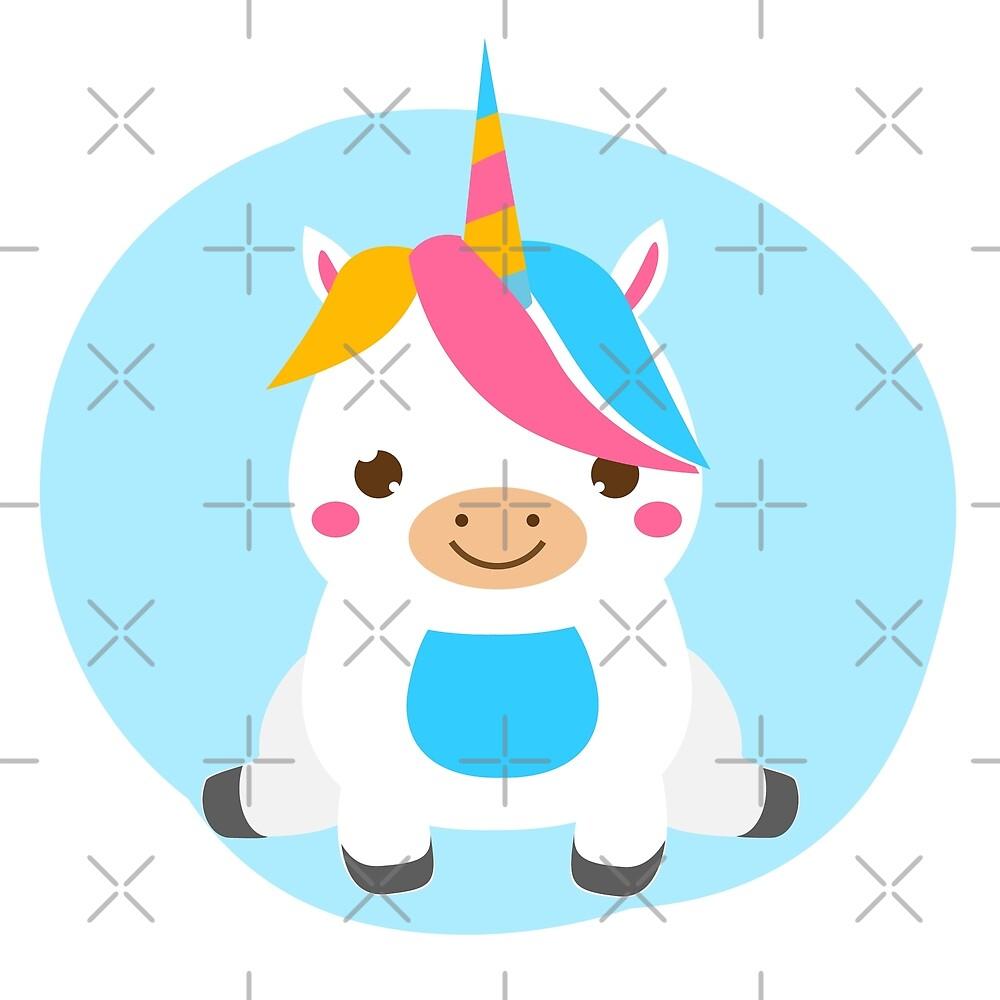 Cute baby unicorn sitting by GennyBunny
