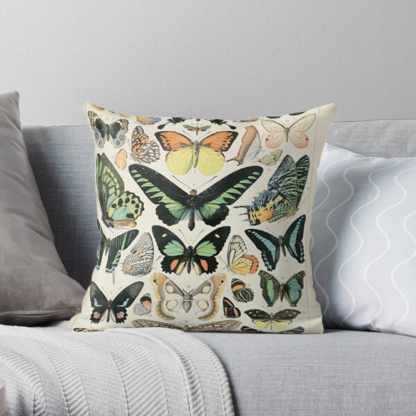 Adolphe Millot papillons B Throw Pillow