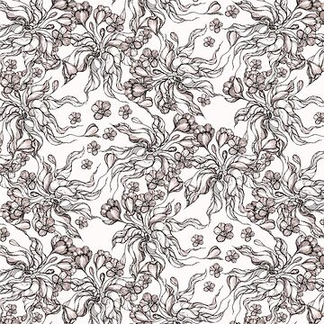floral seamless pattern with hand drawn flowering crocus by kanvisstyle