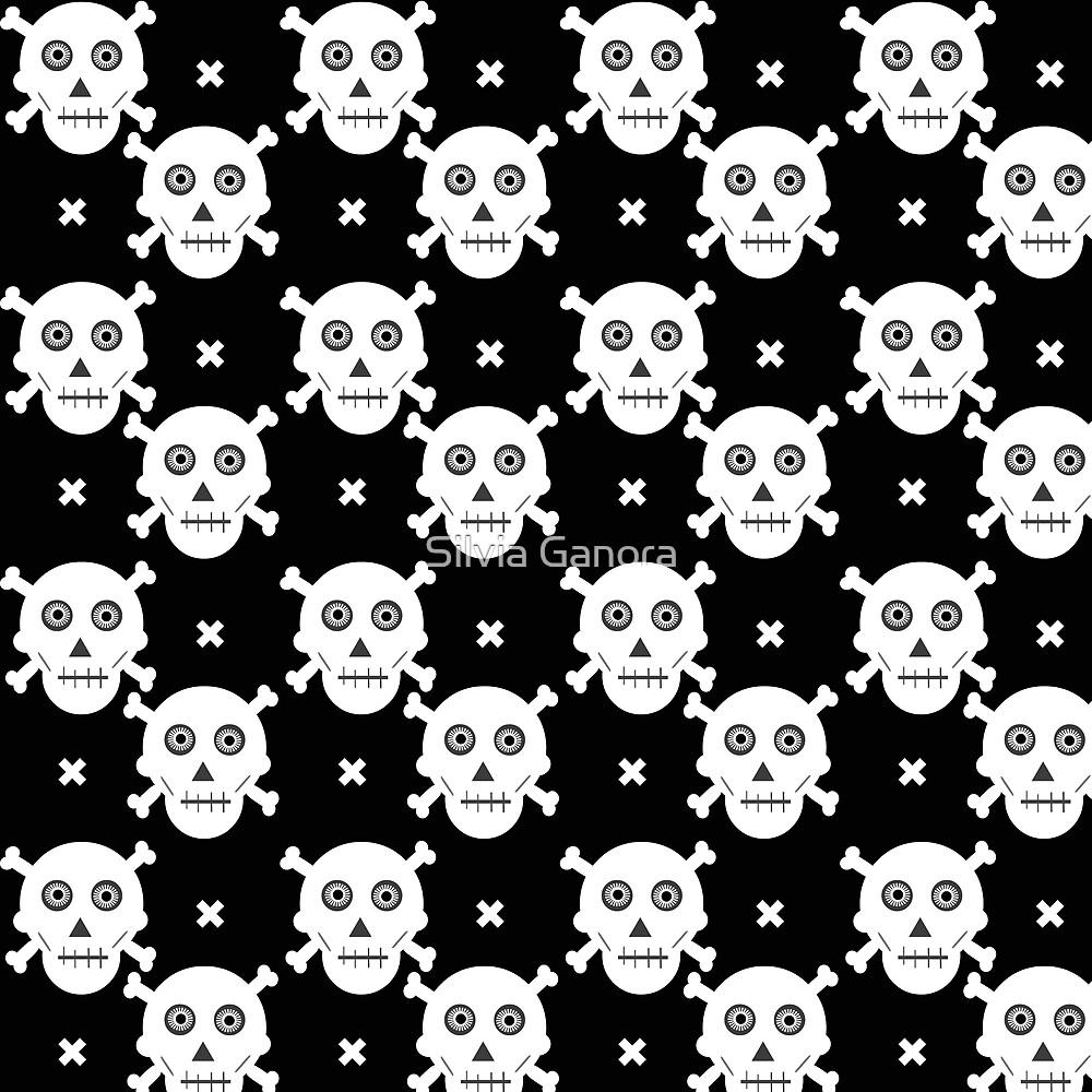 Halloween skulls pattern - Black and white by Silvia Ganora