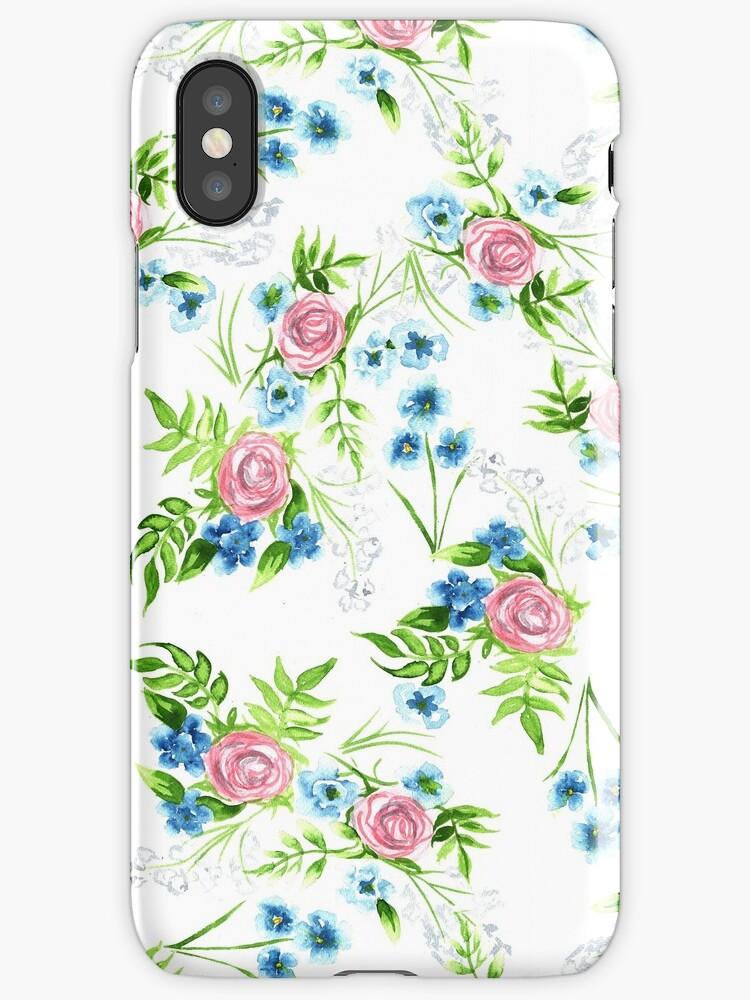Watercolor Floral Pattern Print by fugitiverabbit