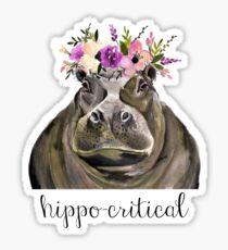 hippocritical- watercolor hippo pun Sticker