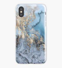 gold leaf blue marble iPhone Case/Skin