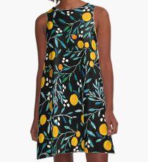 Oranges on Black A-Line Dress