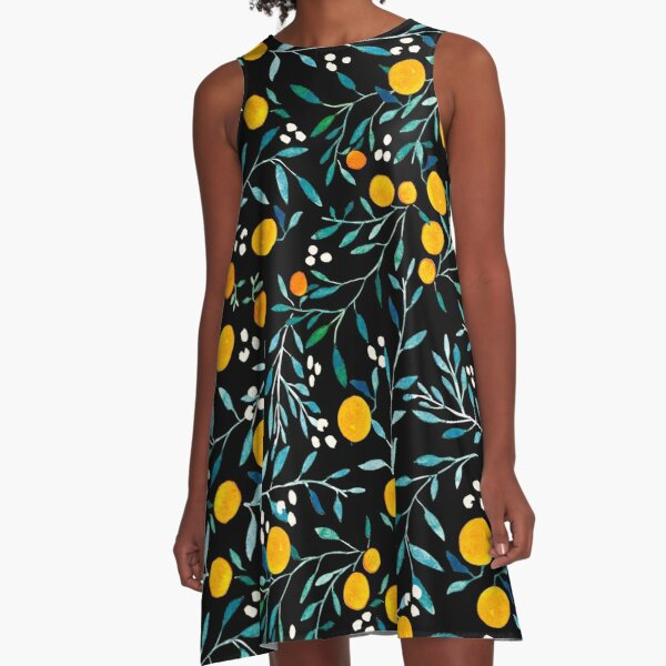 Oranges on Black A-Line Dress