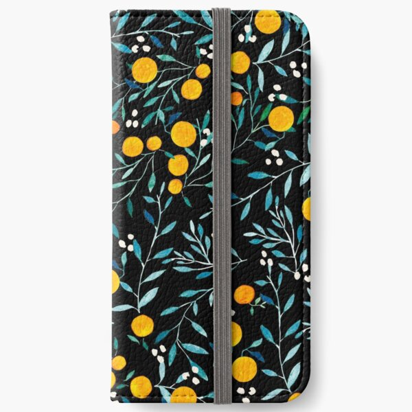 Oranges on Black iPhone Wallet