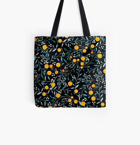 Oranges on Black All Over Print Tote Bag
