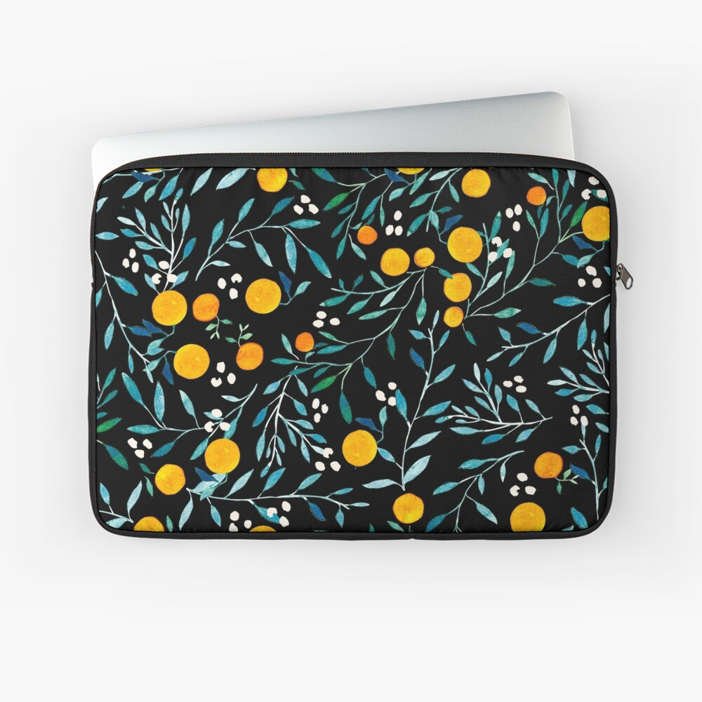 Oranges on Black Laptop Sleeve Front