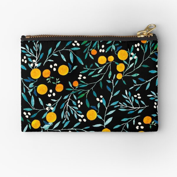 Oranges on Black Zipper Pouch