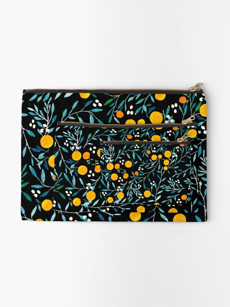 Alternate view of Oranges on Black Zipper Pouch