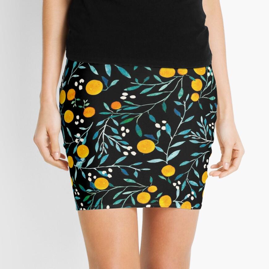 Oranges on Black Mini Skirt