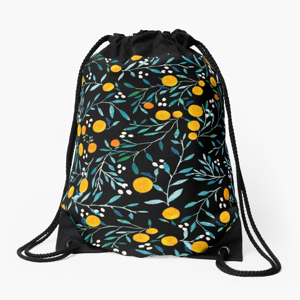 Oranges on Black Drawstring Bag