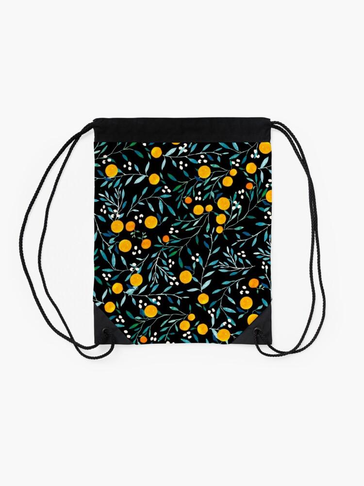 Alternate view of Oranges on Black Drawstring Bag