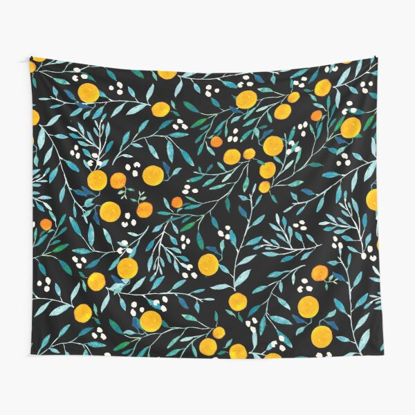Oranges on Black Tapestry