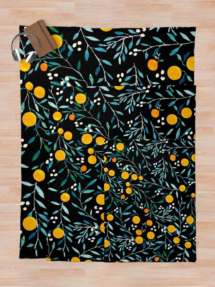 Alternate view of Oranges on Black Throw Blanket