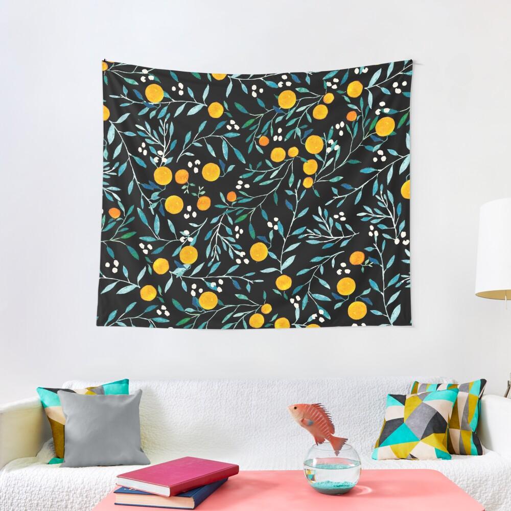 Orangen auf Schwarz Wandbehang