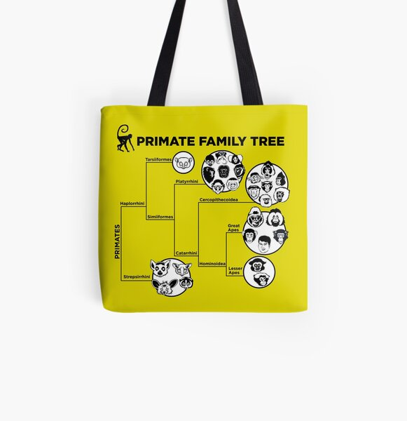 Primate Family Tree All Over Print Tote Bag