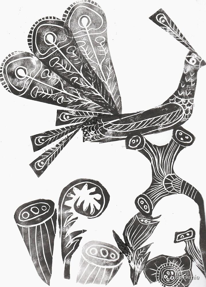 Peacock Block Print by ChloeBirnie