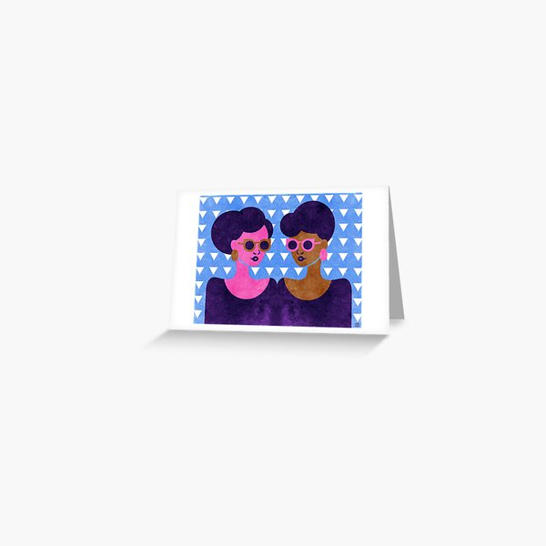 Girls in Purple and Sunglasses Greeting Card