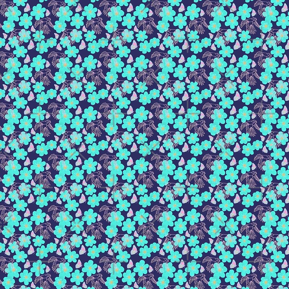 Bluetits and Butterflies by Seremina